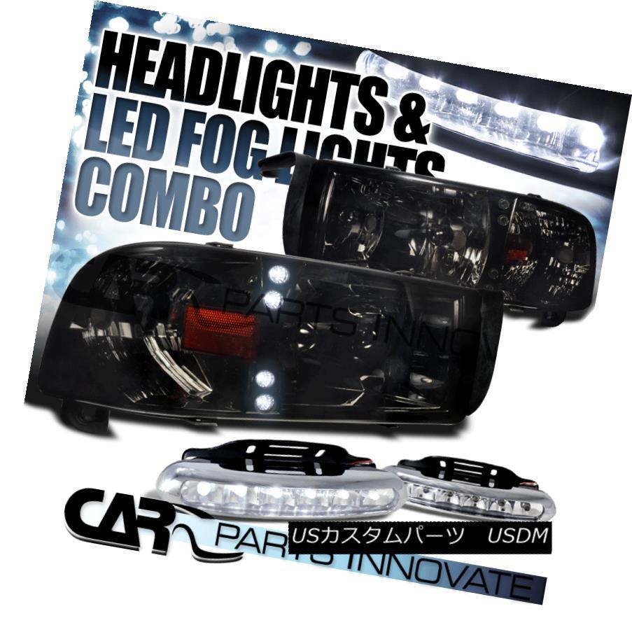 ヘッドライト 94-01 Dodge Ram 1500 2500 3500 Crystal Smoke Tinted Headlights+6-LED Fog Lamps 94-01 Dodge Ram 1500 2500 3500クリスタルスモークティントヘッドライト+ 6-L  EDフォグランプ