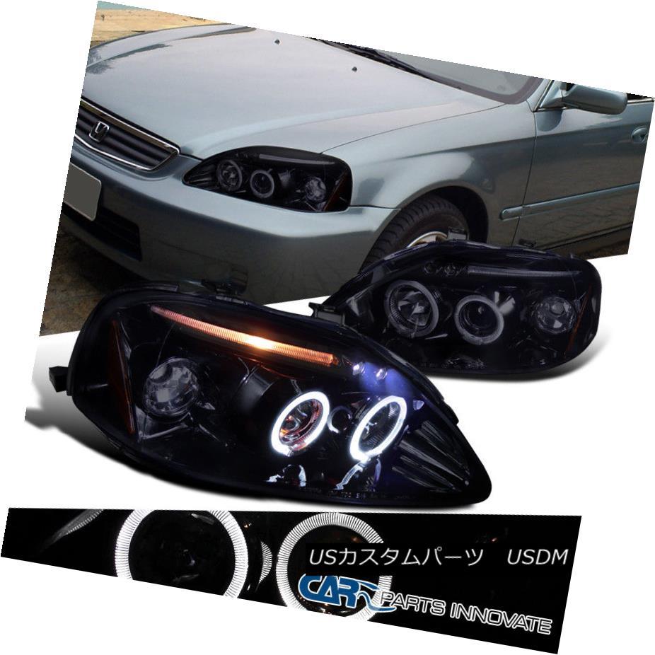 ヘッドライト Glossy Black For Honda 99-00 Civic 2/3/4Dr Dual Halo LED Projector Headlights 99-00シビック2/3 / 4DrデュアルハローLEDプロジェクターヘッドライト用グロスブラック
