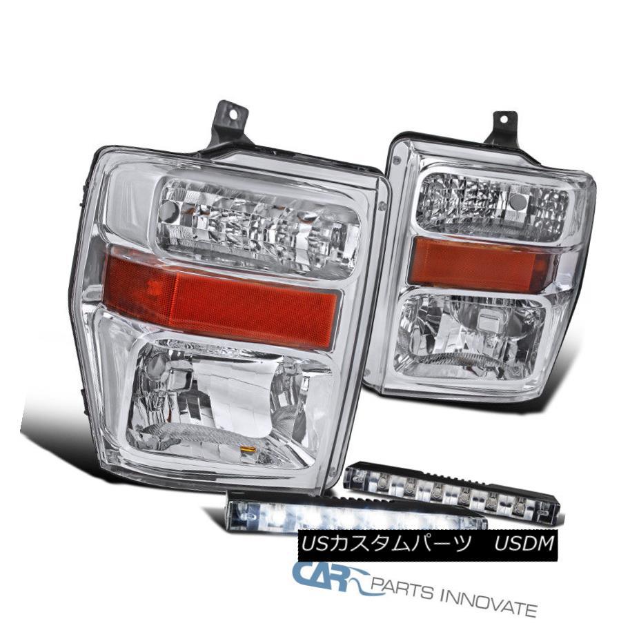 ヘッドライト 08-10 Ford F250 F350 F450 Pickup Chrome Headlights Driving Lamps+6-LED Fog Lamps 08-10フォードF250 F350 F450ピックアップクロームヘッドライトランプ+ 6-LEDフォグランプ