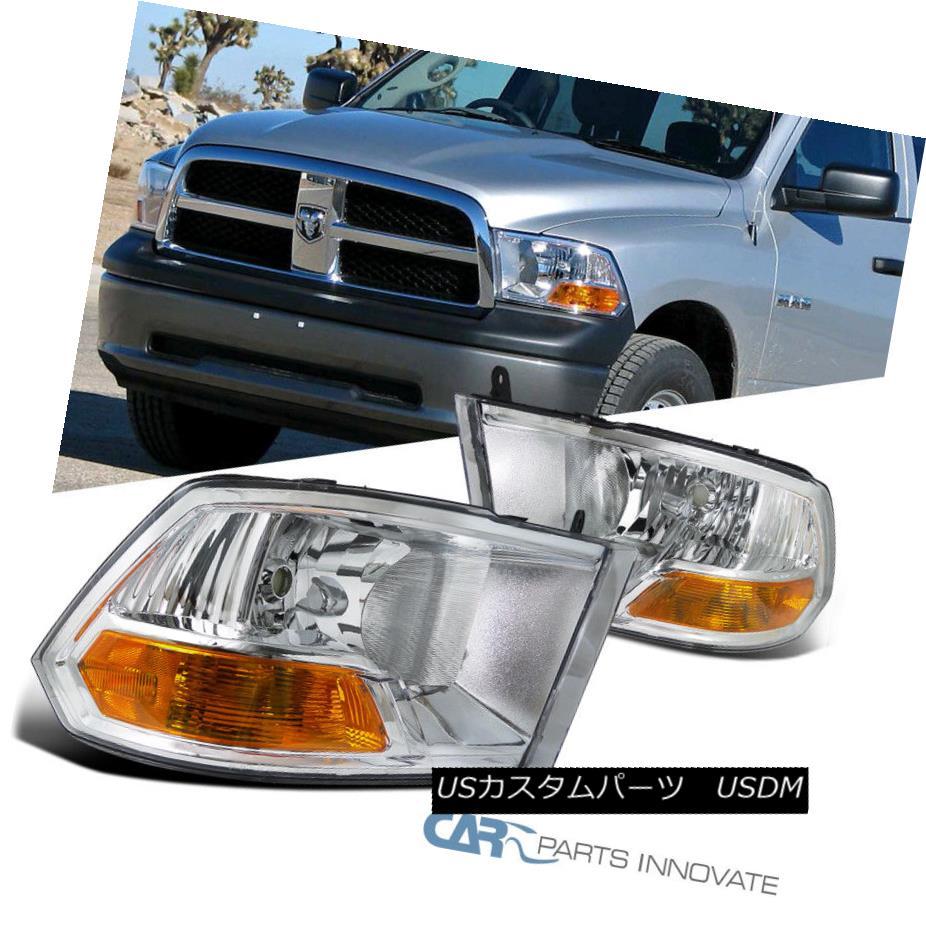 ヘッドライト 09-17 Dodge Ram 1500 2500 3500 Pickup Chrome Headlights+Corner Signal Lamps Pair 09-17 Dodge Ram 1500 2500 3500ピックアップクロームヘッドライト+ Cor  ner信号ランプペア