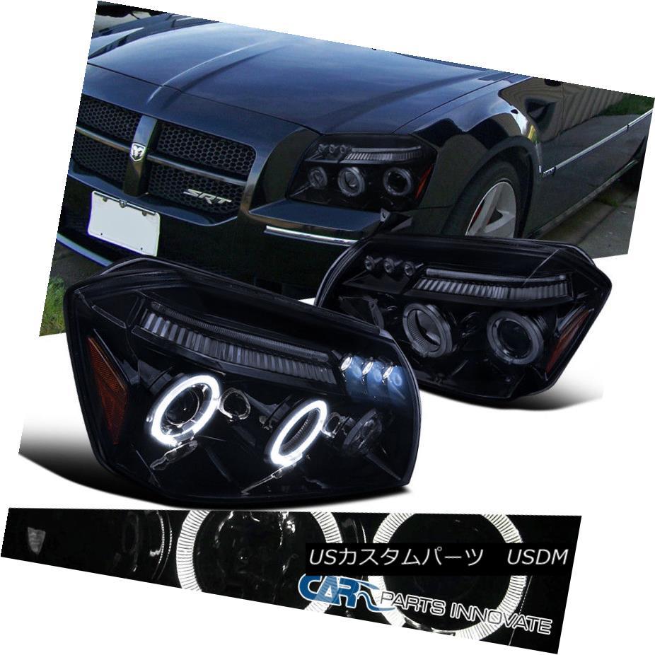 ヘッドライト Glossy Black 05-07 Dodge Magnum Replacement Smoke Halo LED Projector Headlights 光沢ブラック05-07ダッジマグナム交換スモークハローLEDプロジェクターヘッドライト