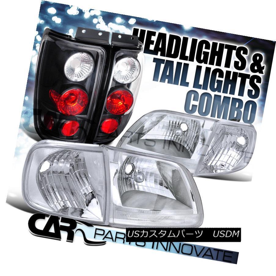 ヘッドライト 97-02 Ford Expedition Chrome Clear Headlights+Corner Lamp+Black Tail Light 97-02 Ford Expeditionクロームクリアヘッドライト+ Cor  nerランプ+ブラックテールライト