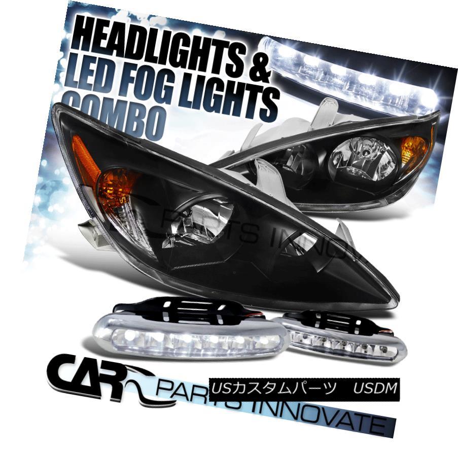 ヘッドライト For 02-04 Toyota Camry LE XLE SE Black JDM Headlights+LED Fog Bumper DRL Lamps 02-04用トヨタカムリLE XLE SEブラックJDMヘッドライト+ LEDフォグバンパーDRLランプ