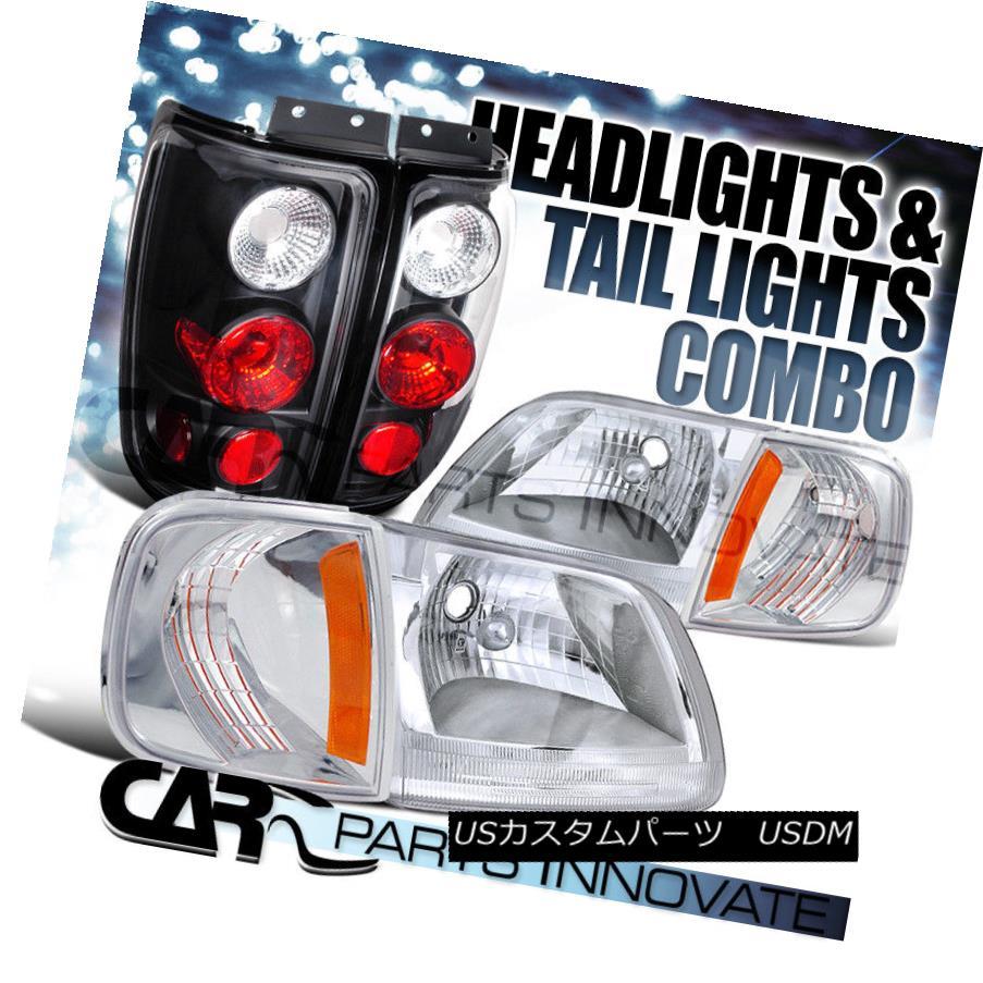 ヘッドライト 1997-2002 Expedition Chrome Clear Headlights+Corner Lamp+Black Tail Light 1997-2002遠征クロムクリアヘッドライト+コルク nerランプ+ブラックテールライト