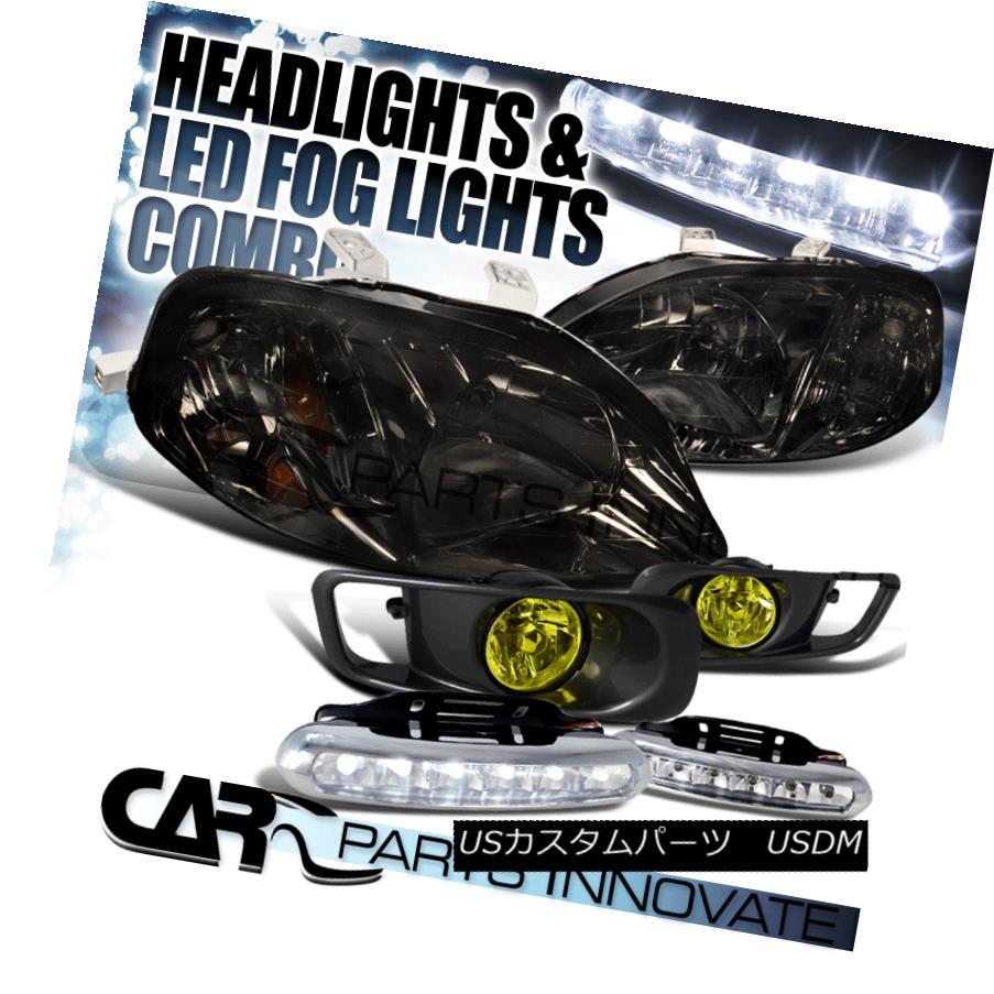 ヘッドライト Fit 99-00 Honda Civic Smoke Crystal Headlights+Yellow Fog Bumper Lamp+6-LED DRL フィット99-00ホンダシビックスモーククリスタルヘッドライト+イエロー 低フォグバンパーランプ+ 6-LED DRL