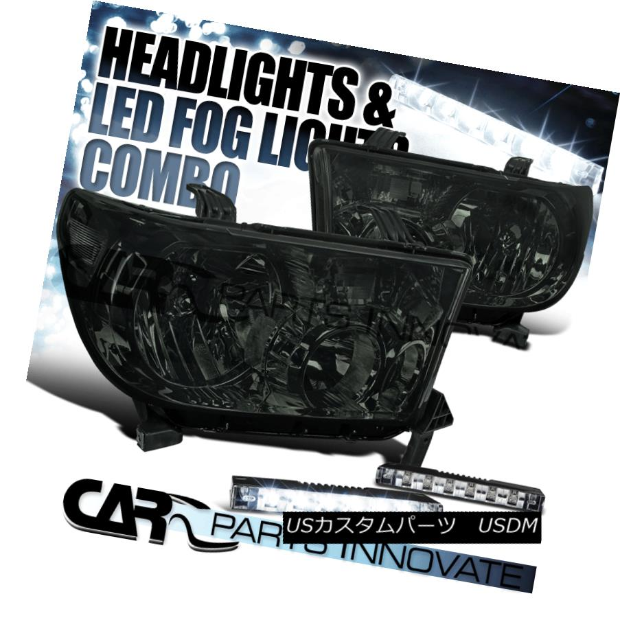 ヘッドライト For Toyota 07-13 Tundra 08-14 Sequoia Smoke Lens Headlights+6-LED Fog Lamps DRL トヨタ用07-13トンドラ08-14セコイアスモークレンズヘッドライト+ 6-L  EDフォグランプDRL