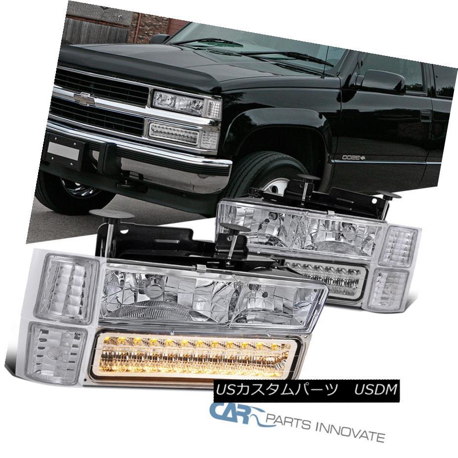 ヘッドライト 94-98 C/K 1500 2500 3500 Tahoe Suburban Chrome Headlights+LED Bumper+Corner Lamp 94-98 C / K 1500 2500 3500タホ郊外クロームヘッドライト+ LEDバンパー+コーナーランプ