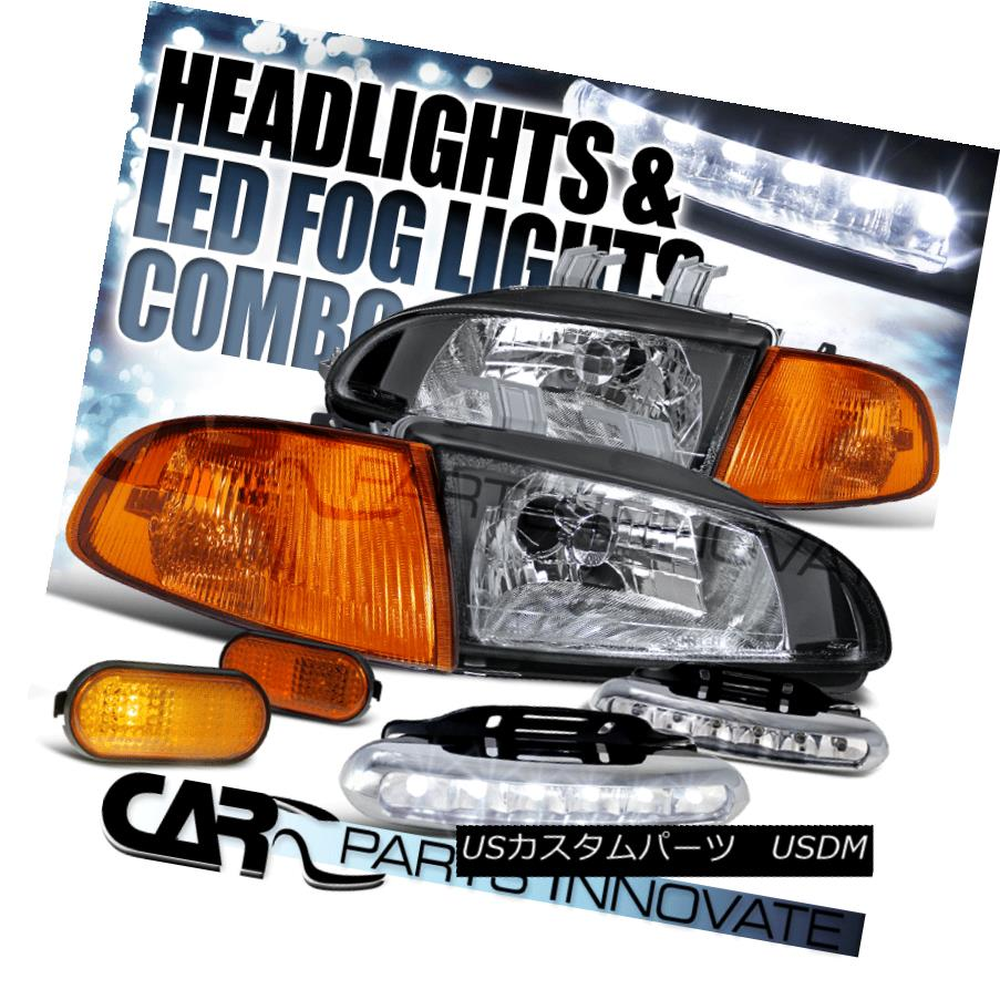ヘッドライト For 92-95 Civic 2/3D Black Headlight+Corner Side Marker Light+LED Fog Lamp 92-95シビック2 / 3Dブラックヘッドライト+コーン用サイドマーカーライト+ LEDフォグランプ