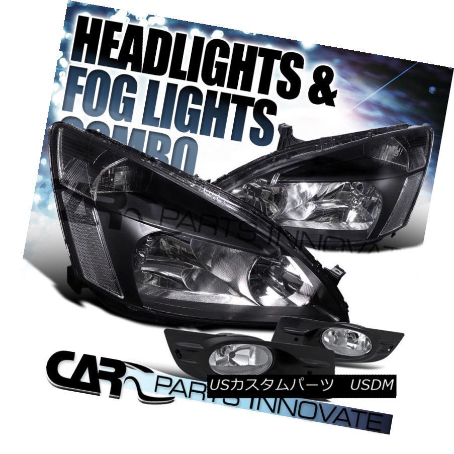 ヘッドライト Fit 2006-2007 Honda Accord 2Dr Coupe Black Headlights+Clear Fog Bumper Lamp フィット2006年?2007年ホンダアコード2rクーペブラックヘッドライト+ Cle  ar Fogバンパーランプ