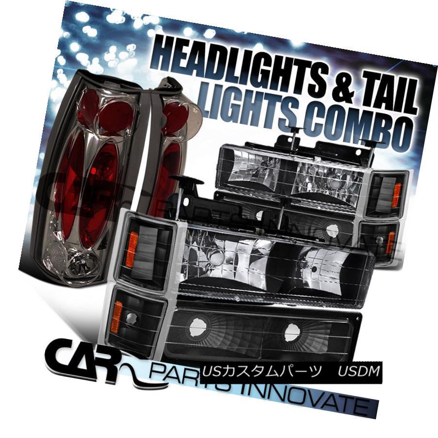 ヘッドライト 94-99 Suburban 1500/2500 Black Headlights+Bumper Corner+Smoke Tail Lamp 94-99郊外の1500/2500ブラックヘッドライト+バーン /コーナー+煙テールランプ