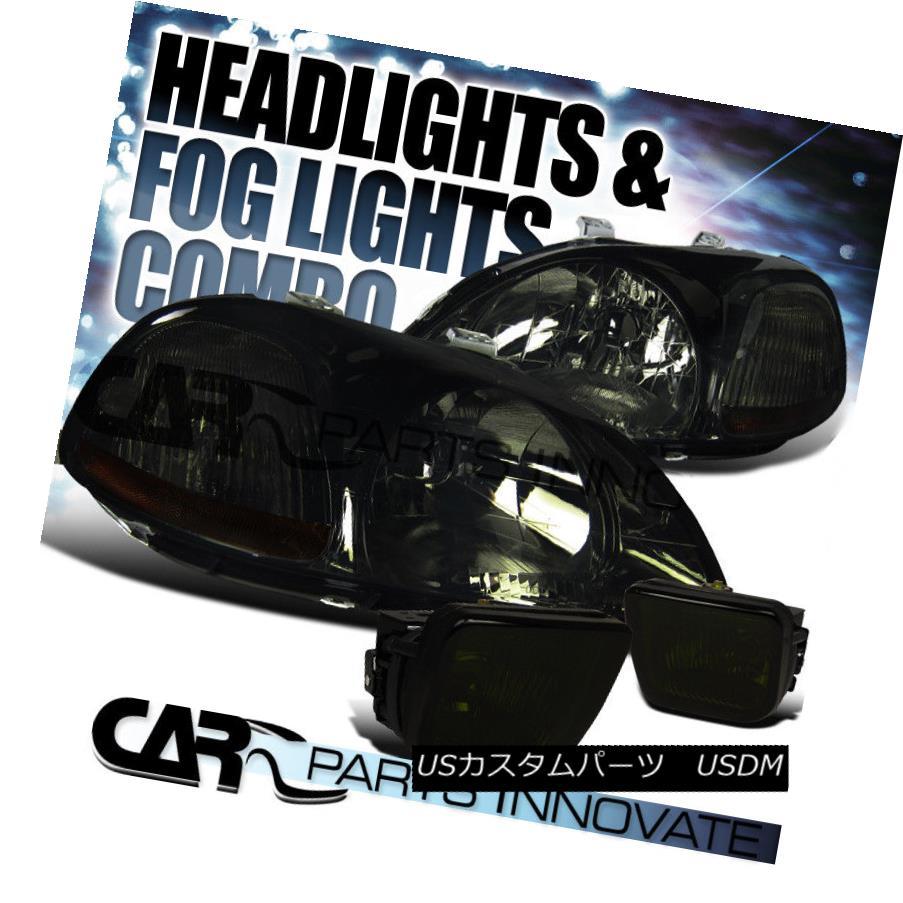 ヘッドライト For Honda 96-98 Civic JDM Crystal Smoke Tint Headlights+Driving Fog Lamps ホンダ96-98シビックJDMクリスタルスモークティントヘッドライト+ドライ フォグランプ用