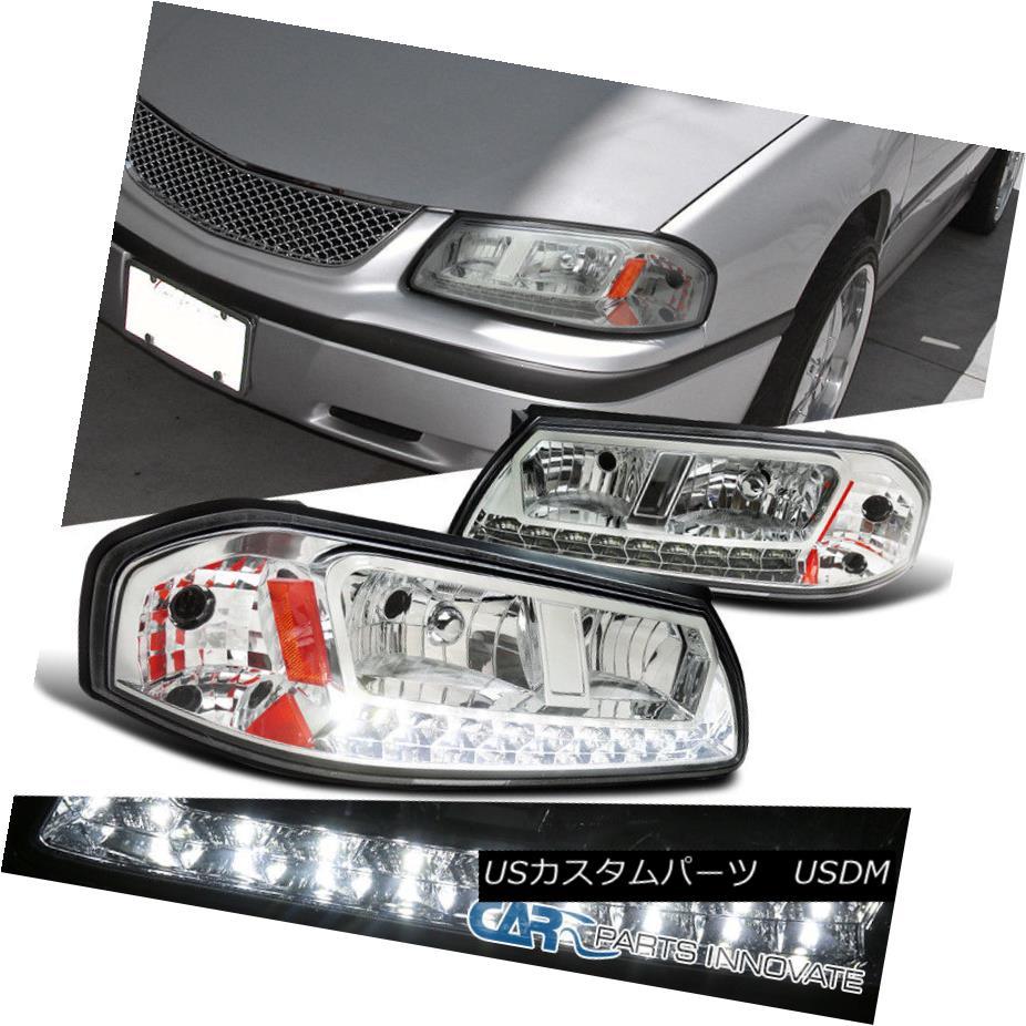 ヘッドライト 00-05 Chevy Impala Replacement Chrome Clear LED DRL Headlights Signal Lamps Pair 00-05シボレーインパラ交換クロームクリアLED DRLヘッドライト信号ランプペア