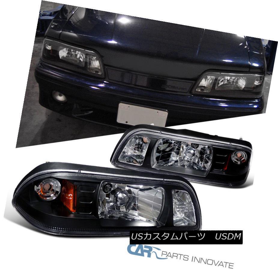 ヘッドライト Ford 1987-1993 Mustang Replacement Black Euro 1-Piece Style Headlights Lamps フォード1987-1993マスタング交換ブラックユーロワンピーススタイルヘッドライトランプ