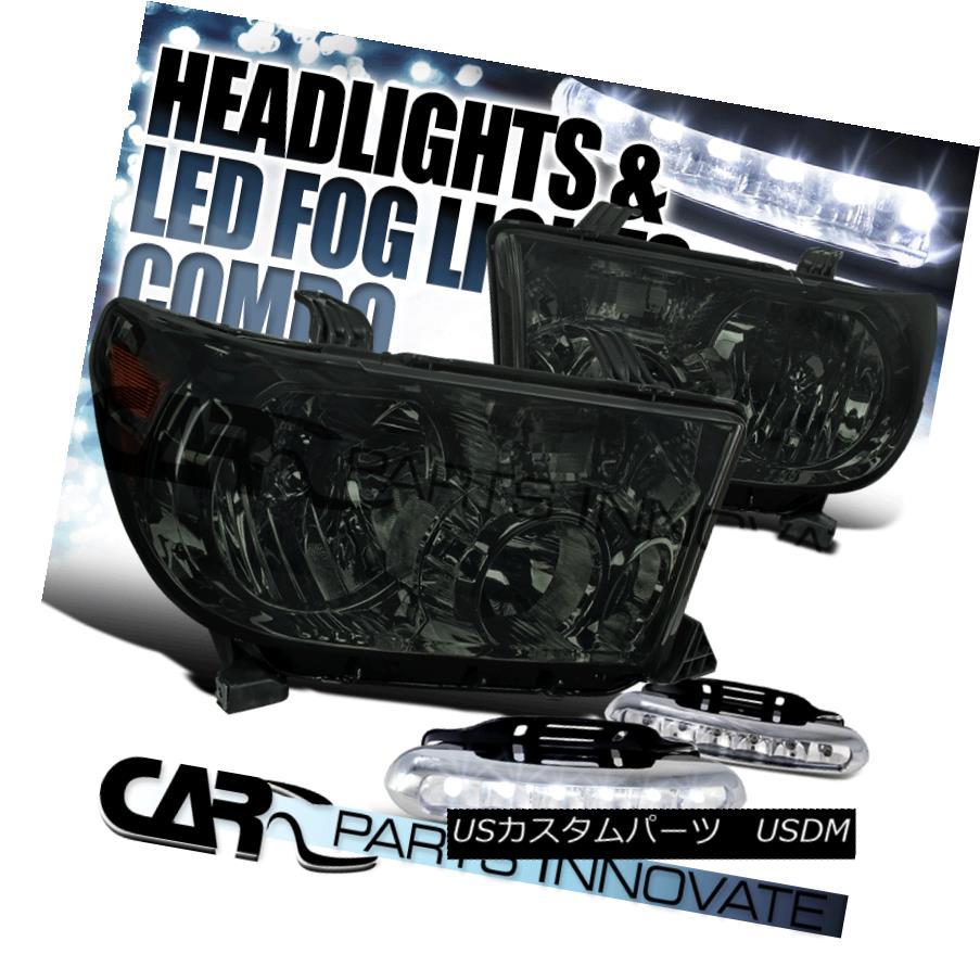 ヘッドライト For Toyota 07-13 Tundra 08-14 Sequoia Smoke Lens Headlights+LED Fog Bumper DRL トヨタ用07-13トンドラ08-14セコイア煙レンズヘッドライト+ LEDフォグバンパーDRL