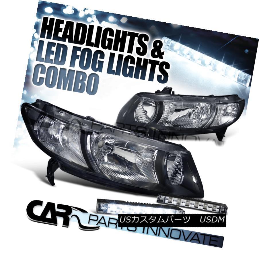ヘッドライト Fit Honda 06-11 Civic 2Dr Coupe Diamond Black Headlights+6-LED Bumper Fog Lights Fit Honda 06-11シビック2Drクーペダイヤモンドブラックヘッドライト+ 6-L  EDバンパーフォグライト
