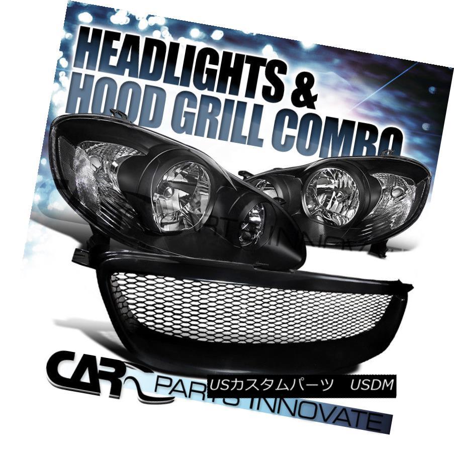 ヘッドライト For Toyota 03-08 Corolla Black Clear Headlights Lamps+Mesh Type Hood Grille R トヨタ用03-08カローラブラッククリアヘッドライトランプ+メッシュタイプフードグリルR