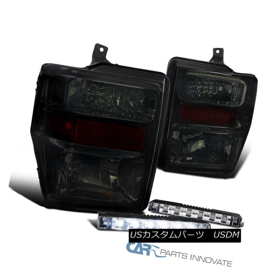 ヘッドライト 08-10 Ford F250 F350 F450 Pickup Smoke Headlights Driving Lamps+6-LED Fog Lamps 08-10フォードF250 F350 F450ピックアップスモークヘッドライトランプ+ 6-LEDフォグランプ