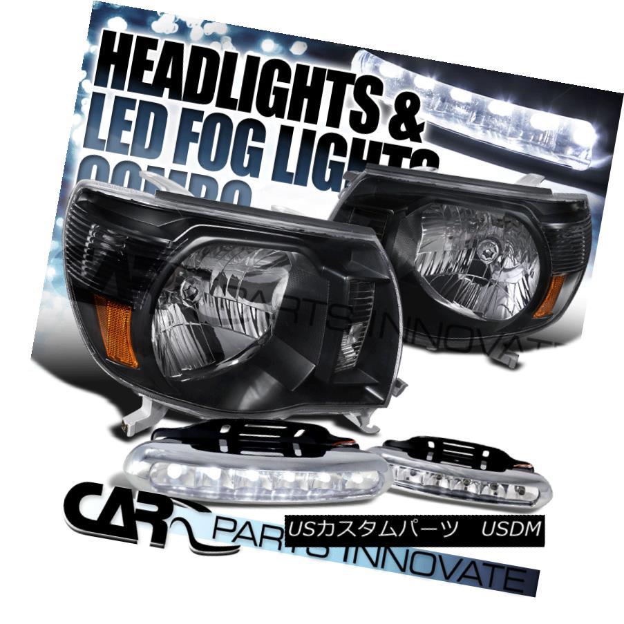 ヘッドライト For 05-11 Toyota Tacoma JDM Black Headlights+6-LED DRL Bumper Lights Fog Lamps 05-11トヨタタコマJDMブラックヘッドライト+ 6-L  ED DRLバンパーライトフォグランプ