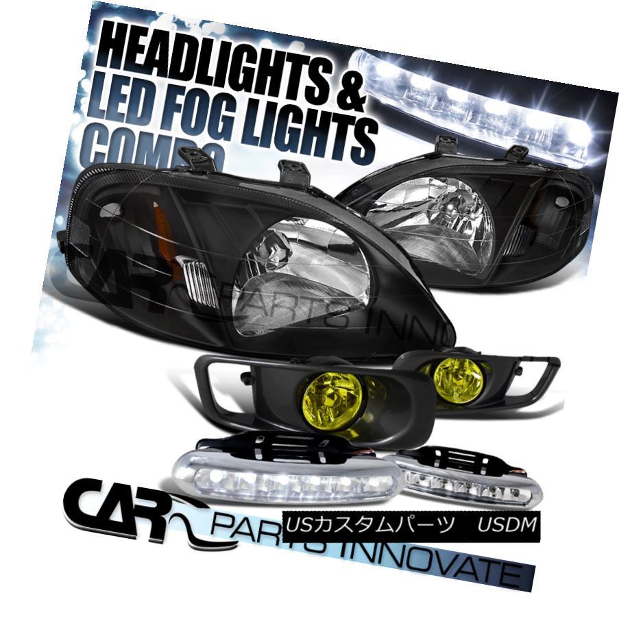 ヘッドライト For 99-00 Honda Civic Black Crystal Headlights+Yellow Fog Bumper Lamp+6-LED DRL 99-00ホンダシビックブラッククリスタルヘッドライト+イエロー 低フォグバンパーランプ+ 6-LED DRL