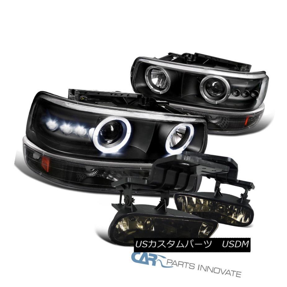 ヘッドライト Black 00-06 Suburban LED Halo Projector Headlights+Bumper Lamps+Smoke Fog Lights ブラック00-06郊外型LEDハロープロジェクターヘッドライト+バーン 、ランプ+スモークフォグライト