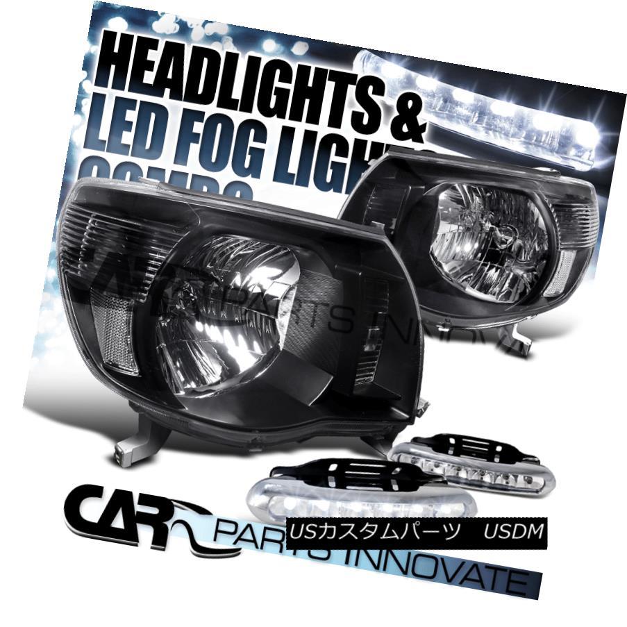 ヘッドライト Fit Toyota 05-11 Tacoma Pickup Black Headlights+Clear 6-LED DRL Fog Bumper Lamps Fit Toyota 05-11タコマピックアップブラックヘッドライト+ Cle  ar 6-LED DRLフォグバンパーランプ