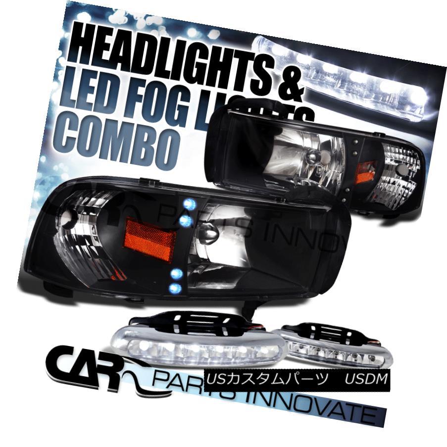 ヘッドライト Dodge 94-01 Ram 1500 2500 3500 LED DRL Black Headlights+6-LED Fog Lamps ダッジ94-01ラム1500 2500 3500 LED DRLブラックヘッドライト+ 6-L  EDフォグランプ