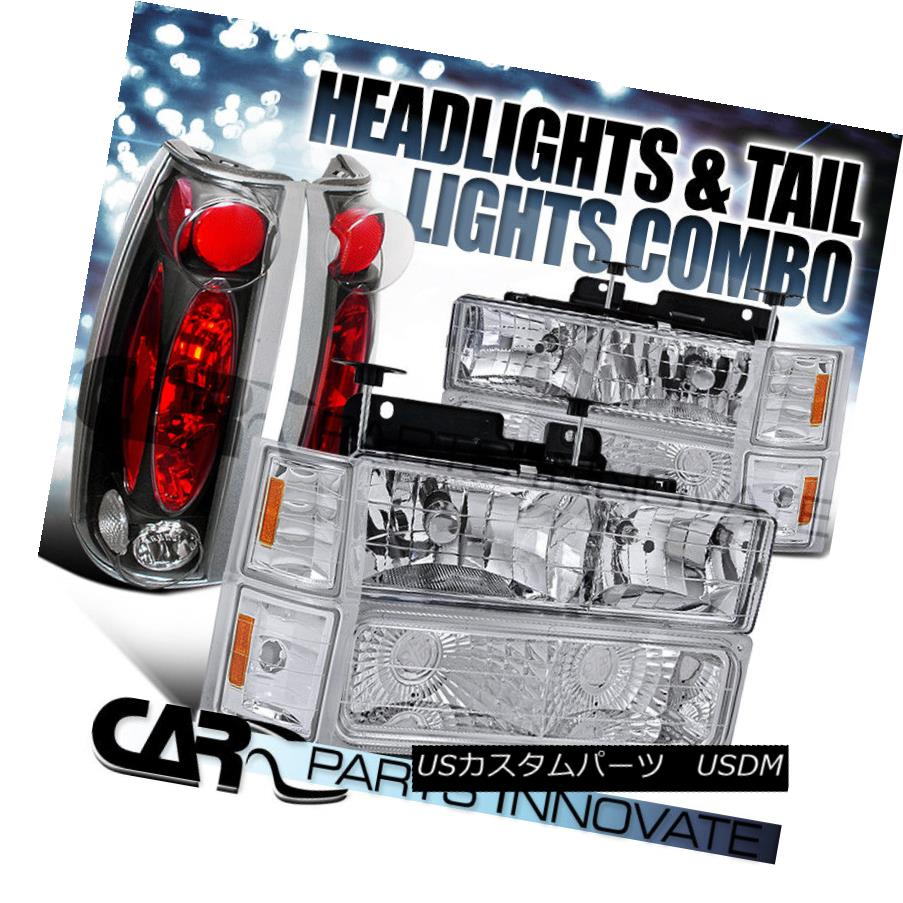 ヘッドライト 94-98 Silverado 1500/2500/3500 Chrome Headlights+Bumper Corner+Black Tail Lamp 94-98 Silverado 1500/2500/3500クロームヘッドライト+ブール /コーナー+ブラックテールランプ