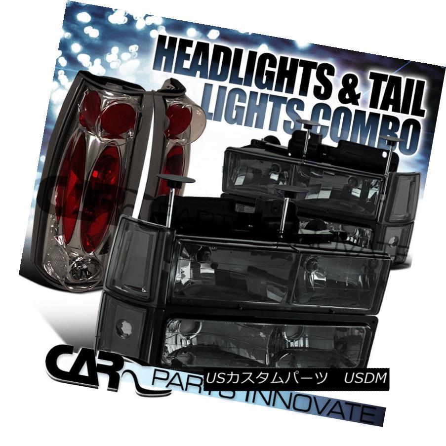 ヘッドライト 1994-1998 GMC Sierra Crystal Smoke Headlights+Bumper Corner Lamps+Tail Lamps 1994-1998 GMCシエラクリスタルスモークヘッドライト+ Bum  /コーナーランプ+テールランプ