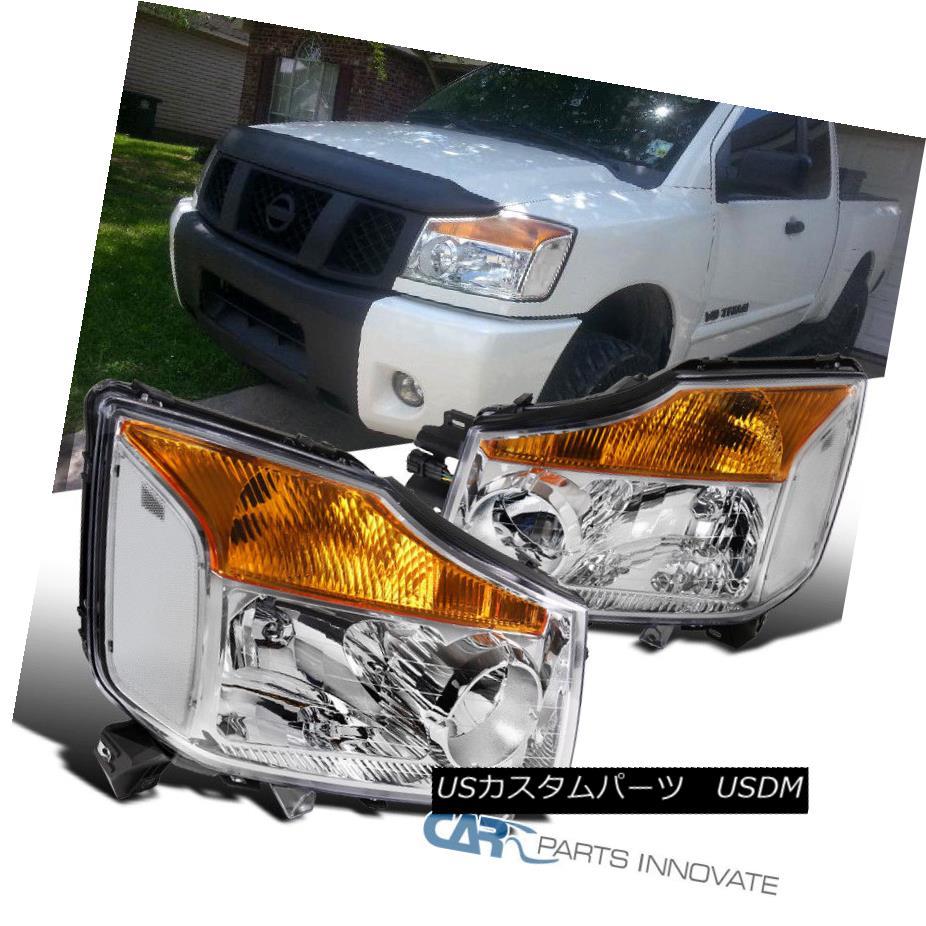 ヘッドライト For Nissan 04-15 Titan 04-07 Armada Pickup Clear Replacement Headlights Lamps 日産04-15タイタン04-07アルマダピックアップ交換用ヘッドライトランプ
