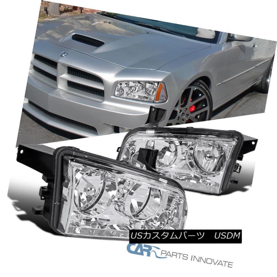 ヘッドライト 2006-2010 Dodge Charger Chrome Headlights Assembly Driving Head Lamps Clear Pair 2006-2010ダッジ充電器クロームヘッドライトアセンブリヘッドランプを駆動する組クリアペア