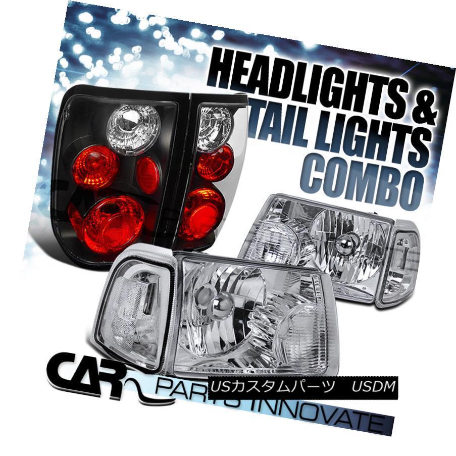 ヘッドライト 01-05 Ranger Chrome Crystal Headlights+Clear Corner Signal Lamp+Black Tail Light 01-05レンジャークロームクリスタルヘッドライト+ Cle  arコーナー信号ランプ+ブラックテールライト