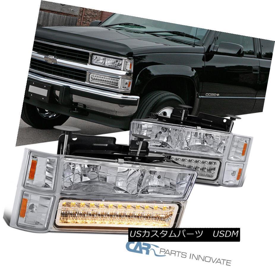 ヘッドライト 94-98 C/K 1500 2500 3500 Tahoe Suburban Headlights+LED Bumper Corner Lamp Chrome 94-98 C / K 1500 2500 3500タホ郊外ヘッドライト+ LEDバンパーコーナーランプクローム