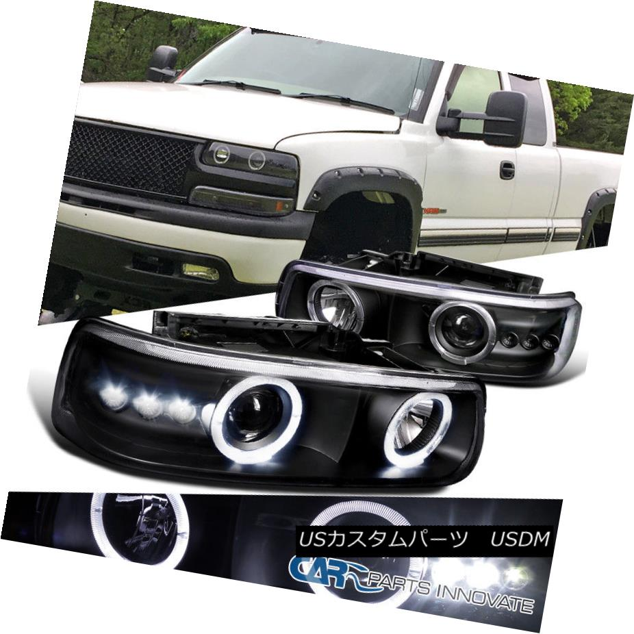 ヘッドライト 99-02 Silverado 00-06 Suburban Tahoe SMD LED Halo Black Projector Headlights 99-02シルバラード00-06郊外タホSMD LEDハローブラックプロジェクターヘッドライト