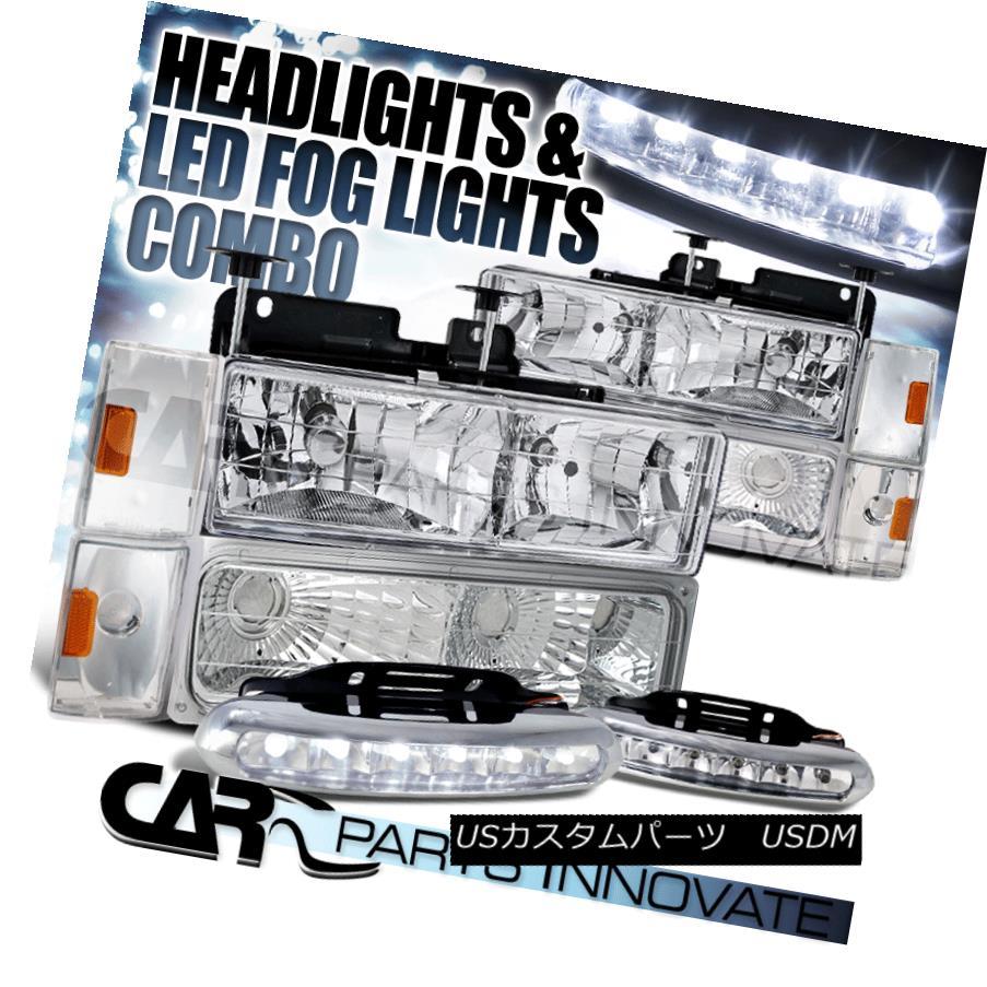 ヘッドライト 88-93 C10 C/K Yukon Blazer Chrome Headlights+Bumper Corner Lights+6-LED Fog Lamp 88-93 C10 C / K Yukon Blazerクロームヘッドライト+ Bum  /コーナーライト+ 6-LEDフォグランプ