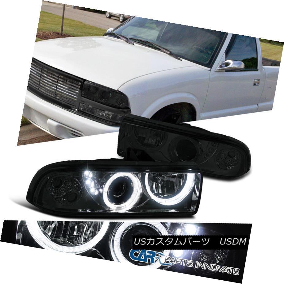 ヘッドライト 98-04 Chevy S10 Blazer Pickup Smoke Lens SMD LED DRL Halo Projector Headlights 98-04 Chevy S10 BlazerピックアップスモークレンズSMD LED DRLハロープロジェクターヘッドライト