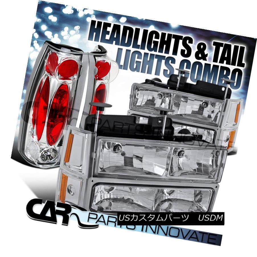 ヘッドライト 1994-1998 GMC C/K 1500 Chrome Headlights+Bumper Corner Lamps+Clear Tail Lamps 1994-1998 GMC C / K 1500クロームヘッドライト+ Bum  /コーナーランプ+クリアテールランプ