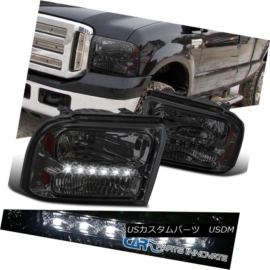 ヘッドライト Ford 05-07 F250/F350/F450/F550 05 Excursion Smoke Lens LED Headlights w/ Amber Ford 05-07 F250 / F350 / F450  / F550 05エクスカーション煙ランプLEDヘッドライト(オレンジ色)