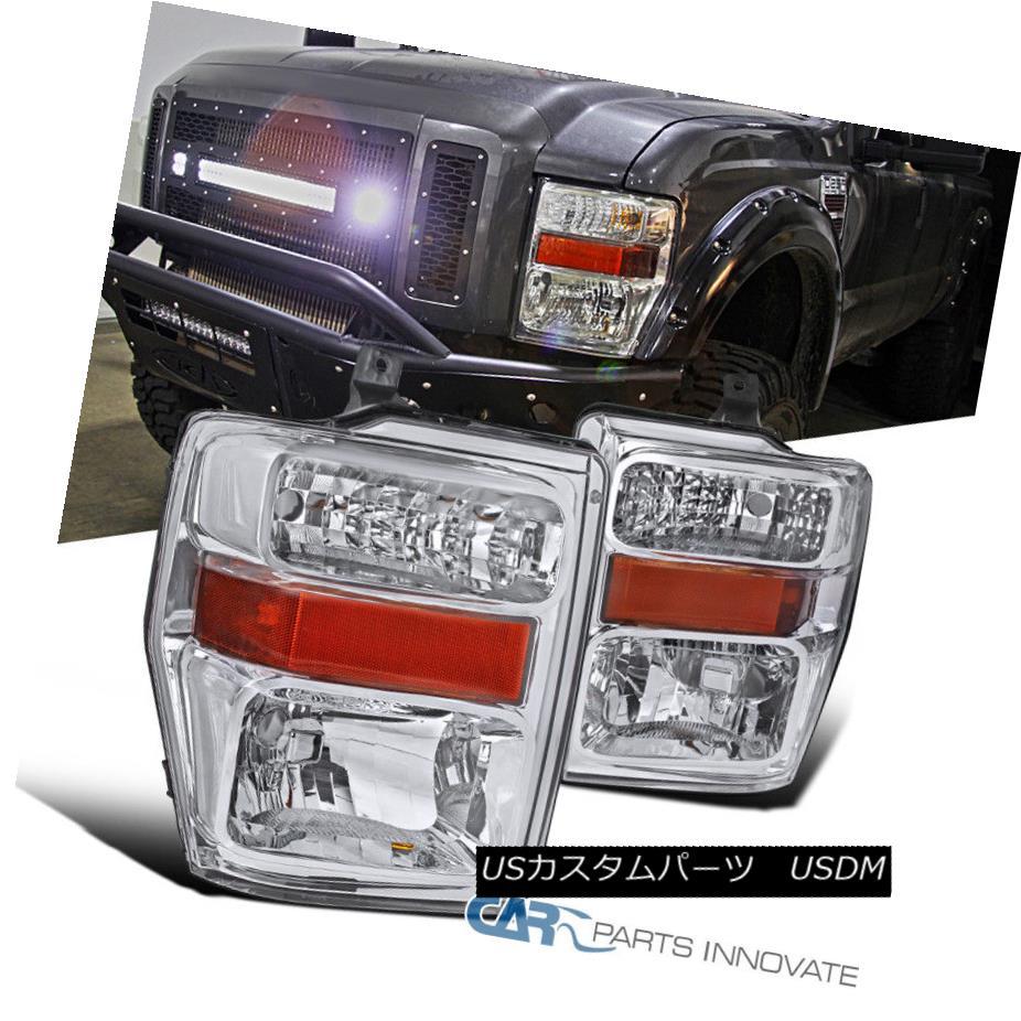 ヘッドライト 08-10 Ford F250 F350 F450 Euro Pickup Chrome Clear Headlights Lamps Left+Right 08-10フォードF250 F350 F450ユーロピックアップクロームクリアヘッドライトランプ左+右