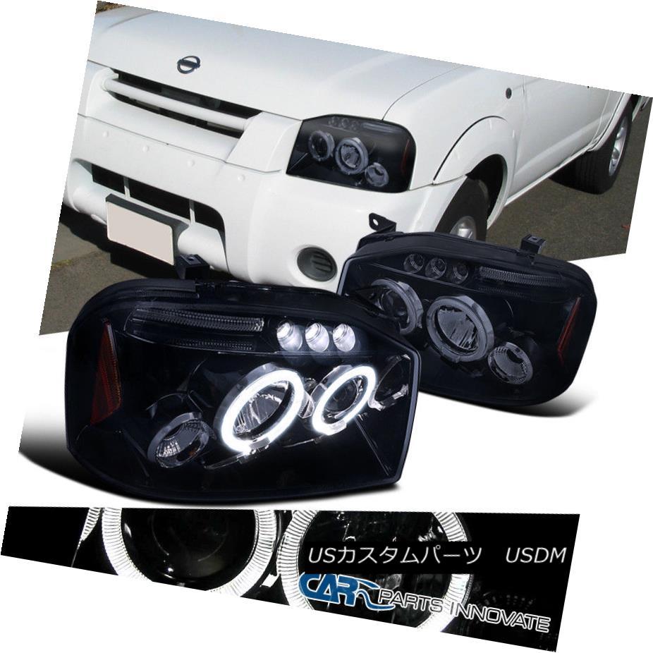 ヘッドライト For 01-04 Nissan Frontier Replacement Glossy Black Halo LED Projector Headlights 01-04日産フロンティア光沢ブラックハローLEDプロジェクターヘッドライト