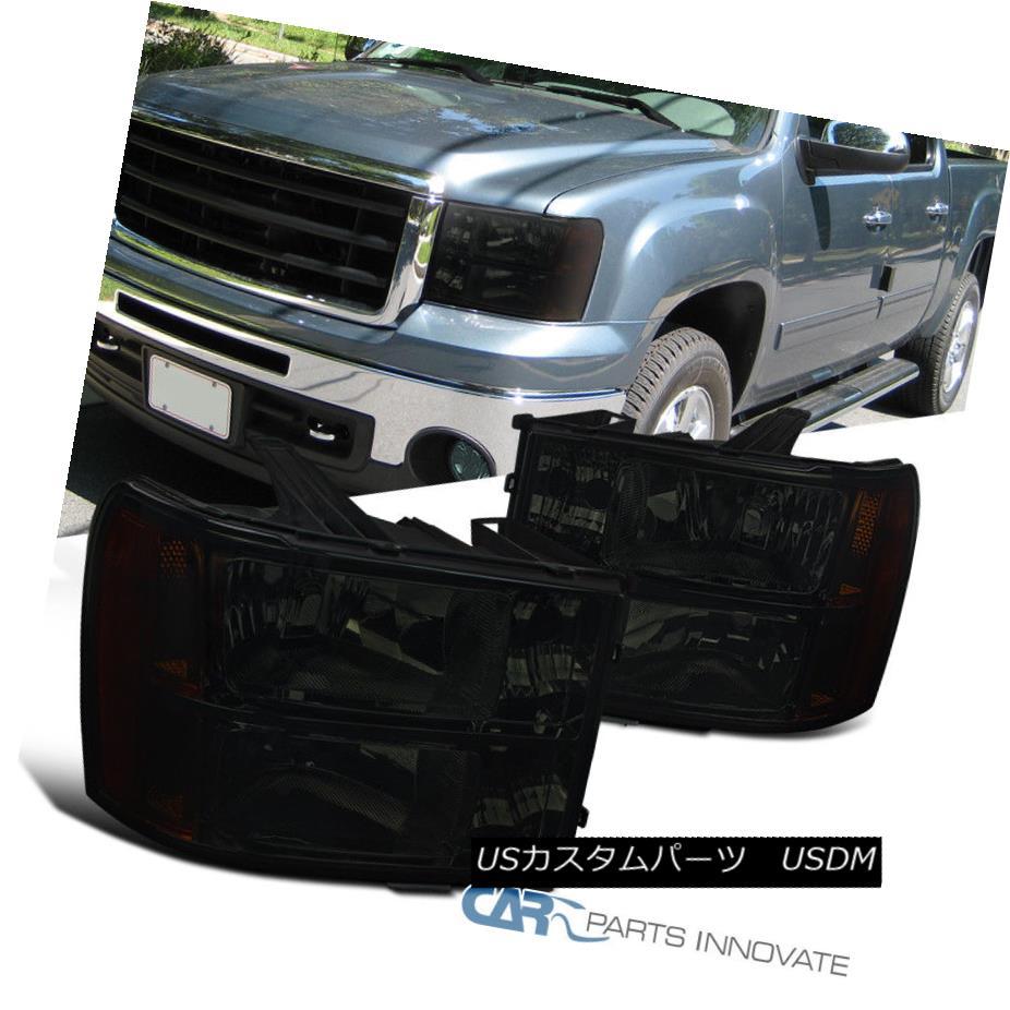 ヘッドライト 07-13 GMC Sierra 1500 Pickup Smoke Lens Headlights Driving Head Lamps Left+Right 07-13 GMC Sierra 1500ピックアップスモークレンズヘッドライトヘッドランプの駆動左+右