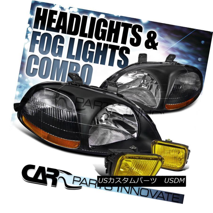 ヘッドライト Fit 1996-1998 Honda Civic Black Crystal Headlights+Yellow Fog Bumper Lamp フィット1996-1998ホンダシビックブラッククリスタルヘッドライト+イエロー 低霧バンパーランプ