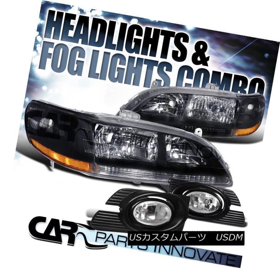 ヘッドライト For 2001-2002 Honda Accord 4Dr Sedan JDM Black Crystal Headlights+Clear Fog Lamp 2001?2002年ホンダアコード4DrセダンJDMブラッククリスタルヘッドライト+ Cle  arフォグランプ