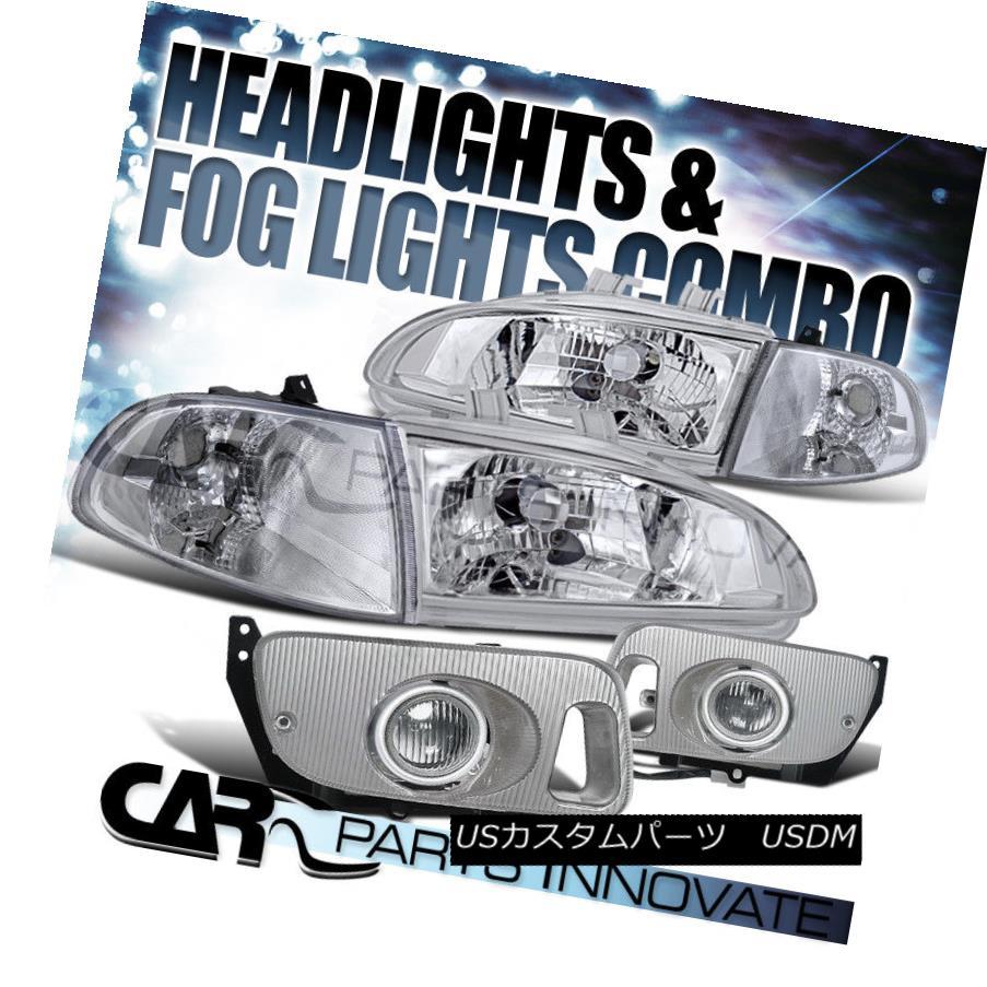 ヘッドライト Fit 92-95 Civic 2/3Dr Crystal Chrome Headlights+Corner Lights+Clear Fog Lamps フィット92-95シビック2 / 3Drクリスタルクロムヘッドライト+ Cor  nerライト+クリアフォグランプ