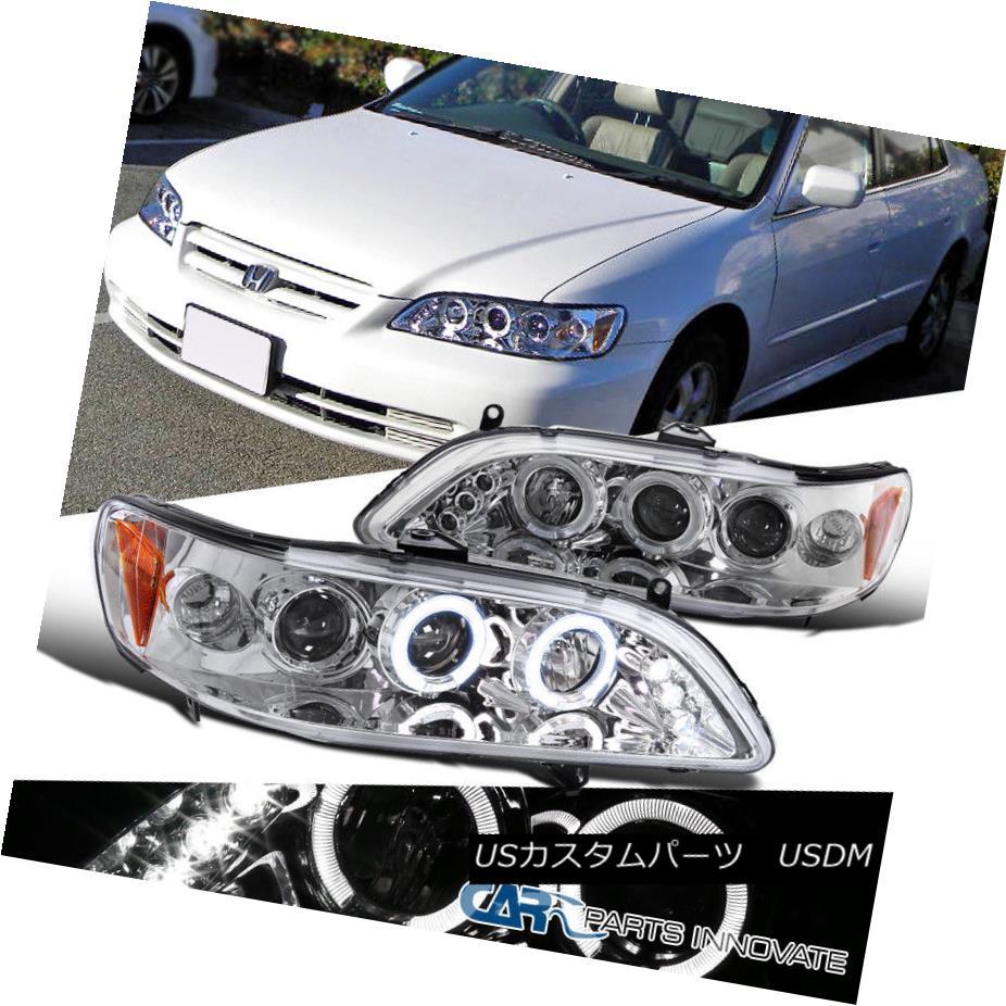 ヘッドライト Fit Honda 98-02 Accord 2/4Dr Clear LED Halo Projector Headlights Driving Lamps フィットホンダ98-02アコード2 / 4DrクリアLEDハロープロジェクターヘッドライトドライビングランプ