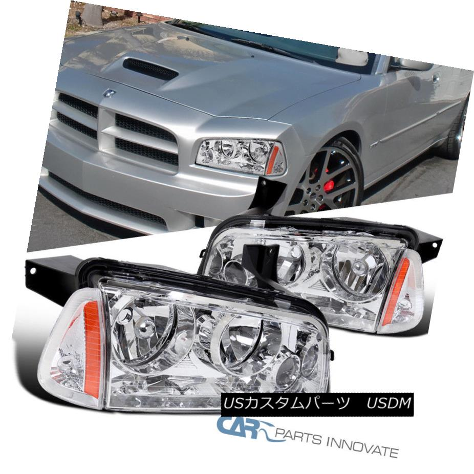 ヘッドライト 06-10 Dodge Charger Chrome Headlights Headlamps+Corner Signal Lamps Left+Right 06-10ダッジチャージャークロームヘッドライトヘッドランプ+コーン er信号ランプ左右+