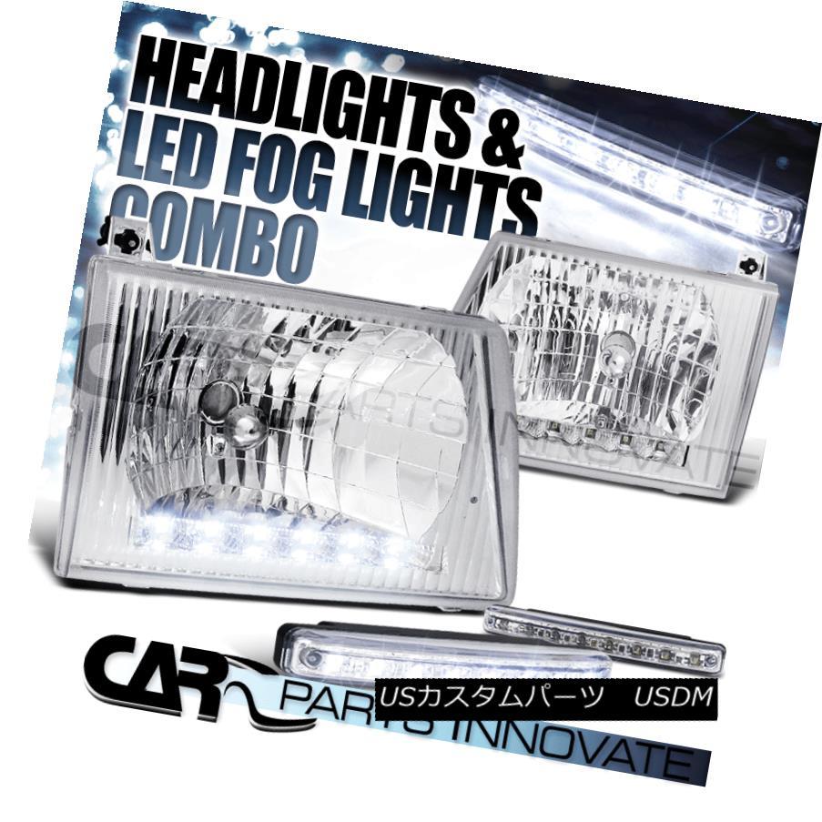ヘッドライト 92-07 E150 250 350 450 Econoline Van Chrome LED DRL Headlights+8-LED Fog Lamps 92-07 E150 250 350 450 EconolineヴァンクロームLED DRLヘッドライト+ 8-L  EDフォグランプ