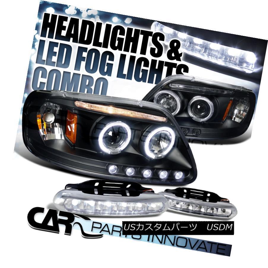 ヘッドライト 97-03 F-150 97-02 Expedition Black Halo Projector Headlights+6-LED Fog Lamps 97-03 F-150 97-02遠征用ブラックハロープロジェクターヘッドライト+ 6-L  EDフォグランプ