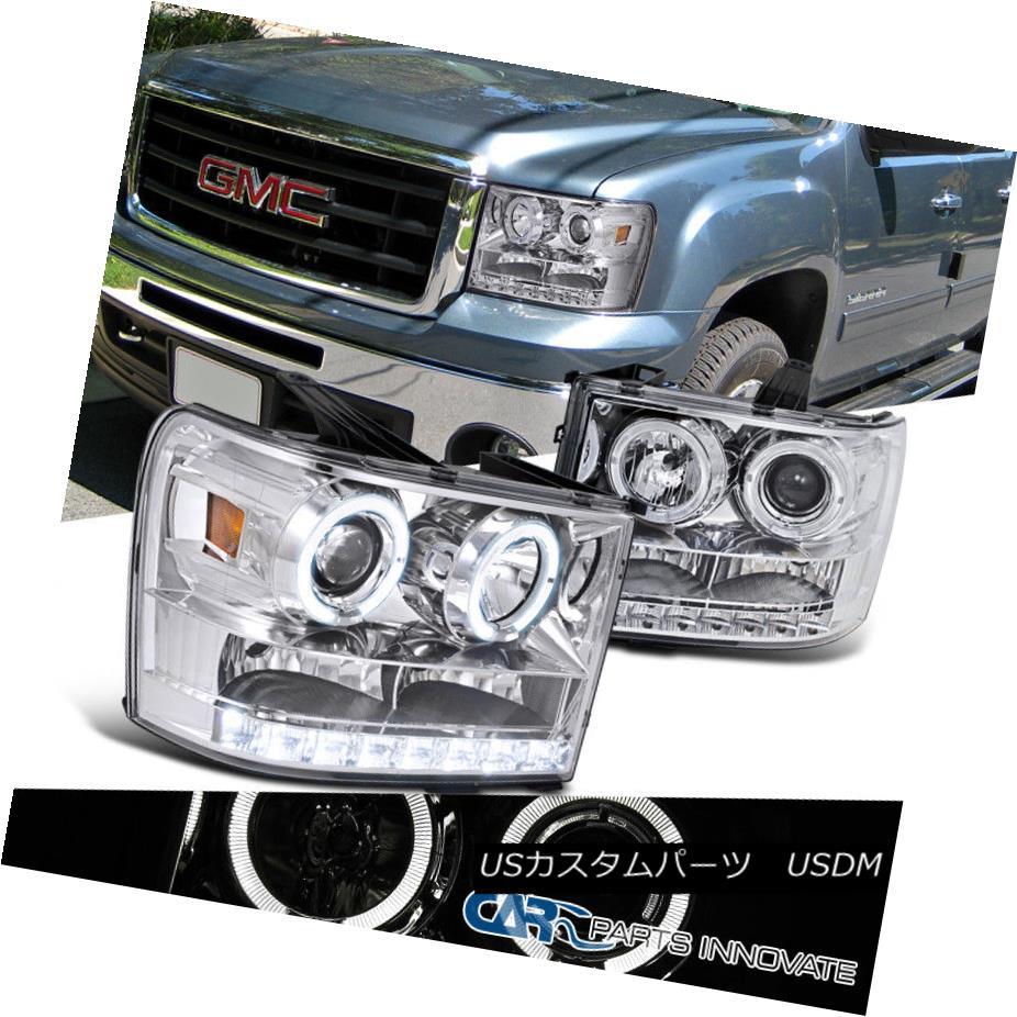 ヘッドライト GMC 07-13 Sierra 1500 2500 3500 HD SMD LED Halo Chrome Projector Headlights Lamp GMC 07-13 Sierra 1500 2500 3500 HD SMD LEDハロークロームプロジェクターヘッドライトランプ