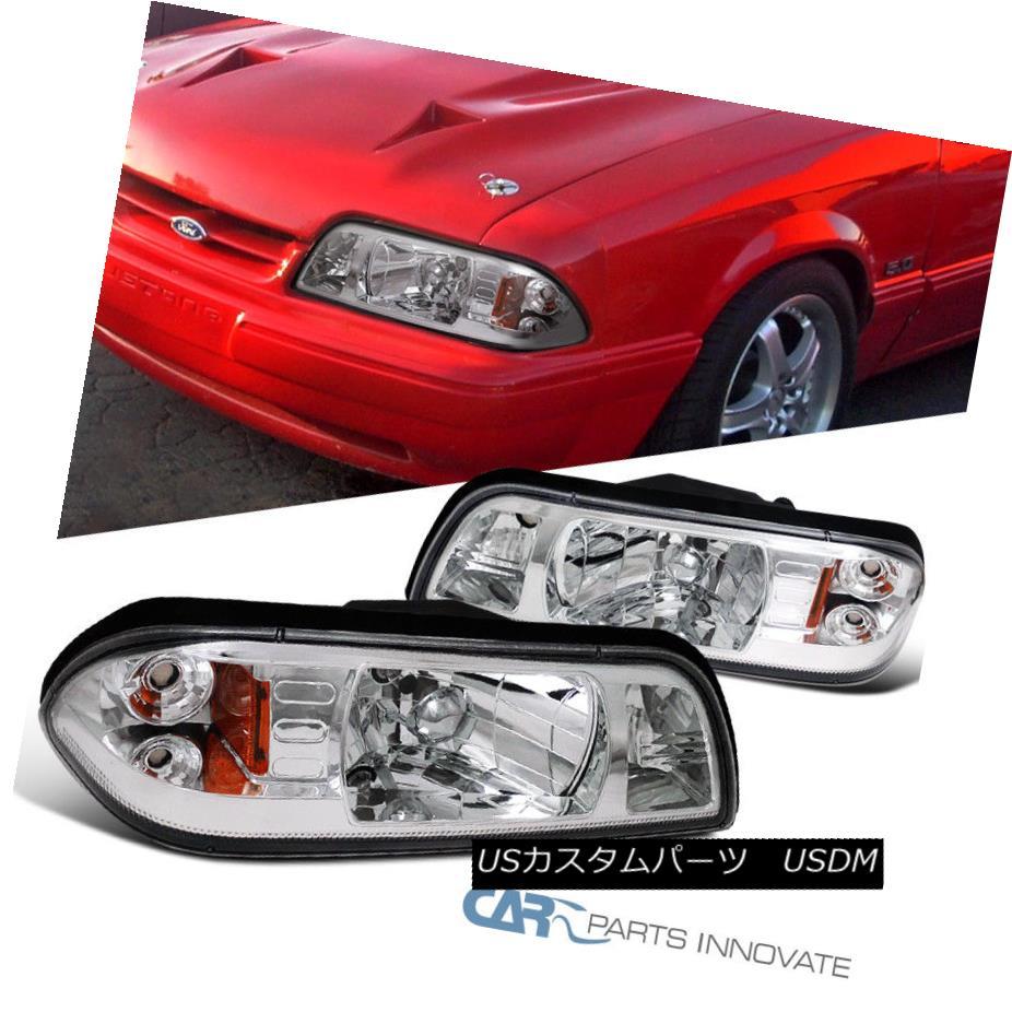 ヘッドライト Ford 1987-1993 Mustang Replacement Chrome Euro 1-Piece Style Headlights Lamps フォード1987-1993ムスタング交換クロムユーロワンピーススタイルのヘッドライトランプ