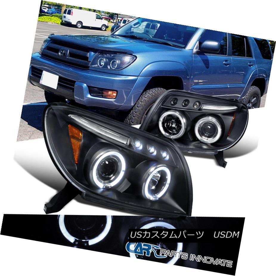 ヘッドライト For Toyota 03-05 4Runner LED Halo Projector Headlights Head Driving Lamps Black トヨタ用03-05 4Runner LEDハロープロジェクターヘッドライトヘッドランプ